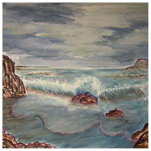 Rendition of Carmel Coast of Gutknecht in Tempera Evening_thumb